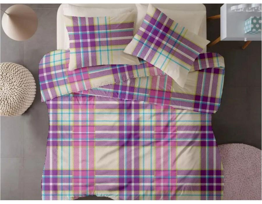 Lenjerie de pat dublu din Bumbac 100% Ranforce - Plaid V2 - 4 piese