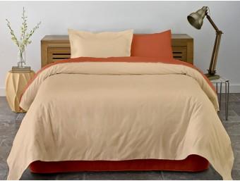 Lenjerie de pat dublu din Bumbac 100% Ranforce Pumpkin & Honey Peach XXL