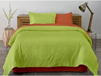 Lenjerie de pat dublu din Bumbac 100% Ranforce Pumpkin & Lime