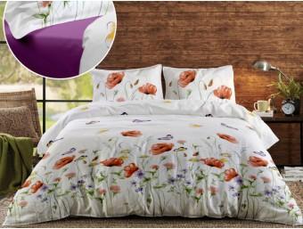 Lenjerie de pat dublu din Bumbac 100% Ranforce - Summer Shades 02 Mov Iris Orchid - 4 piese
