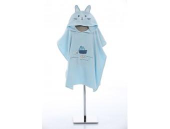 Prosop poncho copii cu gluga bumbac 100% Pisica/Cat Albastru