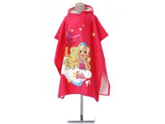 Prosop poncho copii cu gluga bumbac 100% Barbie