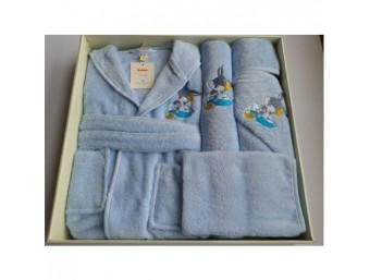 Set de baie cu halat si prosoape pentru copii 0- 2 ani Bugs Bunny Albastru