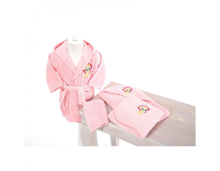 Set de baie cu halat si prosoape pentru copii 0- 2 ani Tweety Pink
