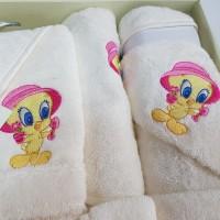 Set de baie cu halat si prosoape pentru copii 0- 2 ani Tweety Alb