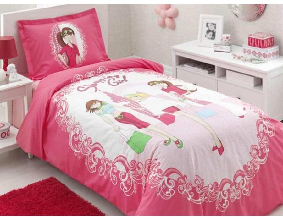 Lenjerie de pat copii Bumbac 100% Shopping Girl