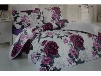 Lenjerie de pat dublu din Bumbac 100% Ranforce Flower