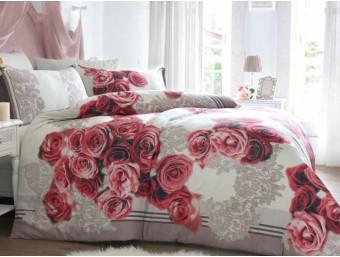 Lenjerie de pat dublu din Bumbac 100% Ranforce Lace and Roses