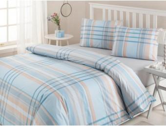 Lenjerie de pat dublu din Bumbac 100% Modaletto Roberto Albastru