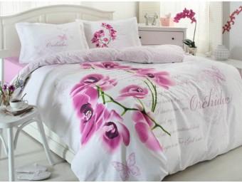 Lenjerie de pat dublu din Bumbac 100% Ranforce Orkide