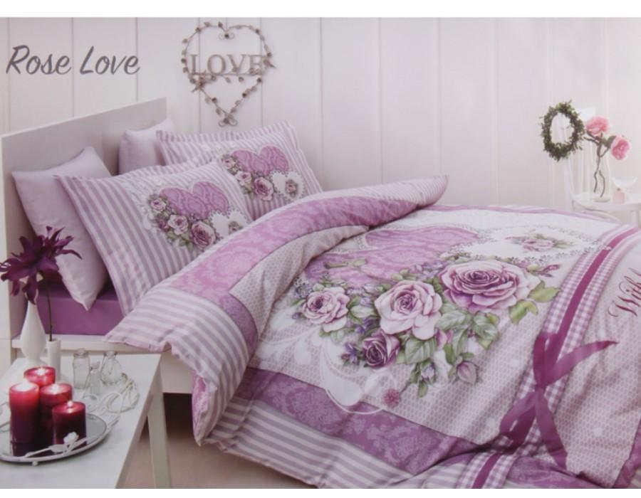 Lenjerie de pat dublu din Bumbac 100% Ranforce Rose Love
